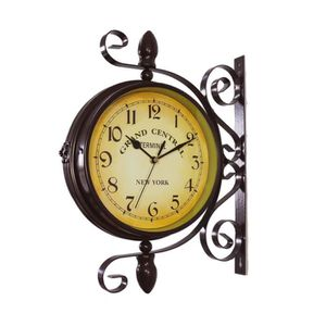ACAMPTAR Horloge Murale Double Face de Style Europ/éen Horloges Classiques Cr/éatives Monochrome