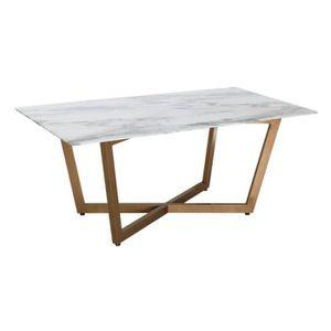 TABLE À MANGER SEULE Table de repas Métal/Verre Marbre/Or - MILIO - L 1