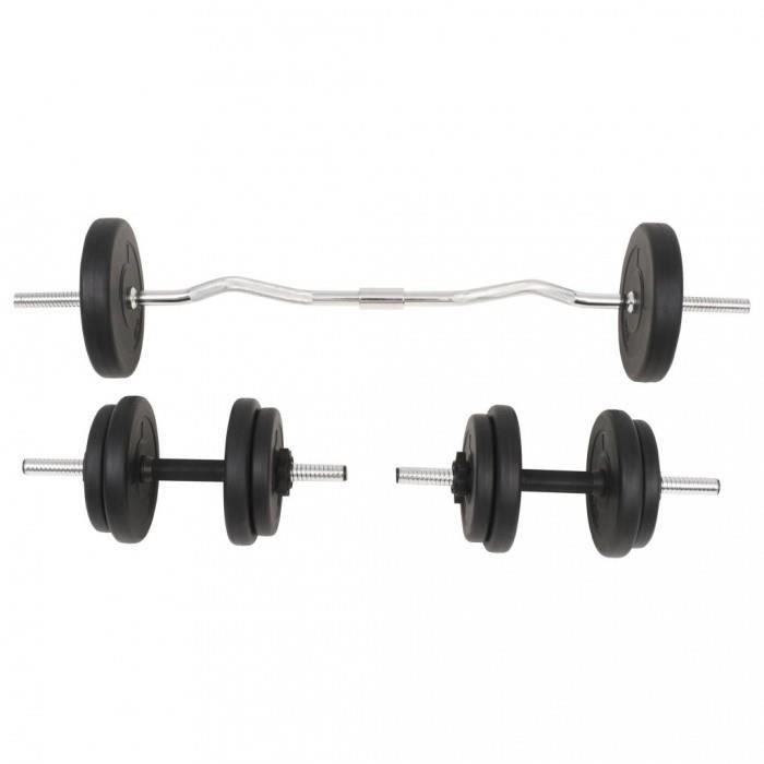 Poids libres Ensemble d'halteres et barres d'halteres 30 kg