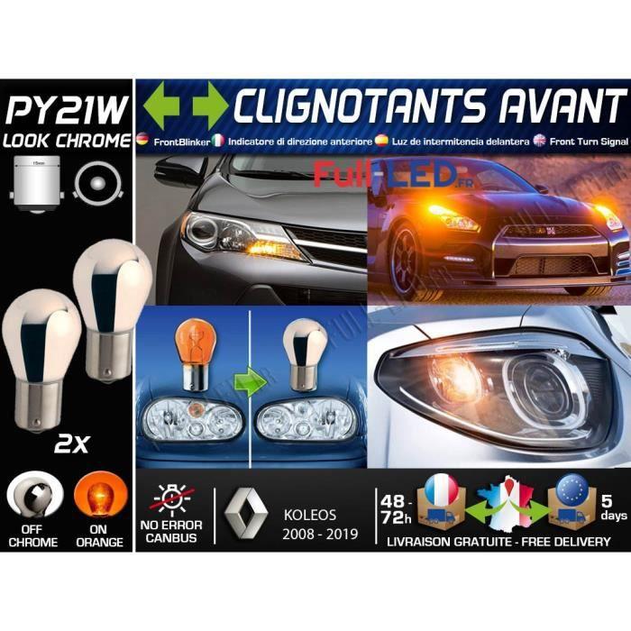 Pack 2 Ampoules PY21W Chromé - Clignotants Avant - RENAULT KOLEOS