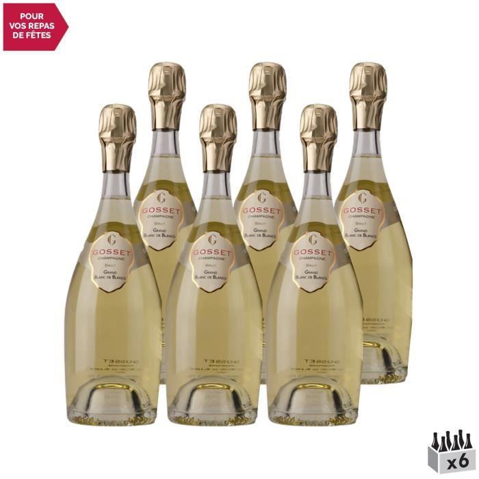 Champagne Grand Blanc de Blancs en Coffret Blanc - Lot de 6x75cl - Champagne Gosset - Cépage Chardonnay