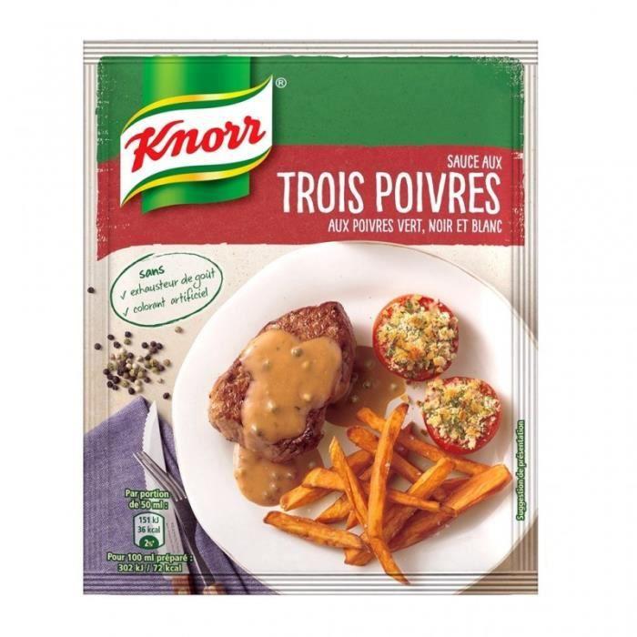 Knorr Sauce aux Trois Poivres aux Poivres Vert Noir et Blanc 32g (lot de 6)