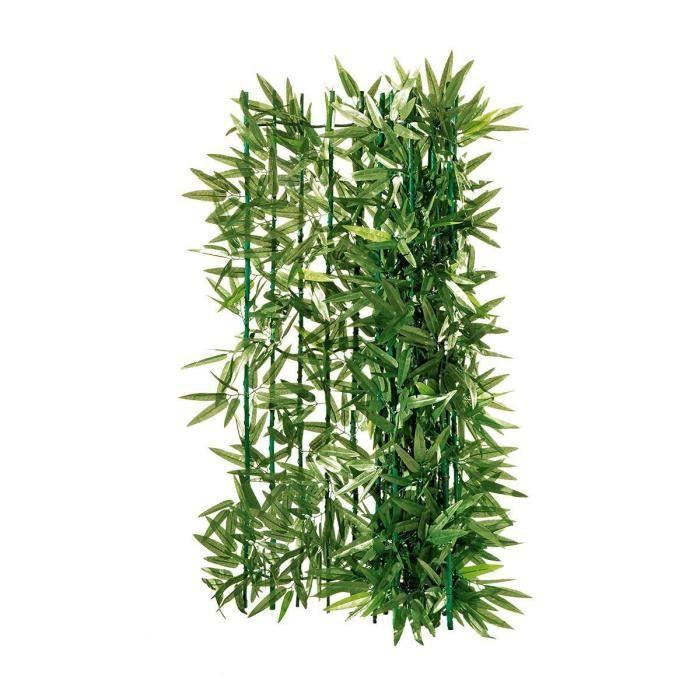 PUREDAY Haie artificielle brise vue -Bambou- - Ajustable par coupe - Vert - L3 x H1 m