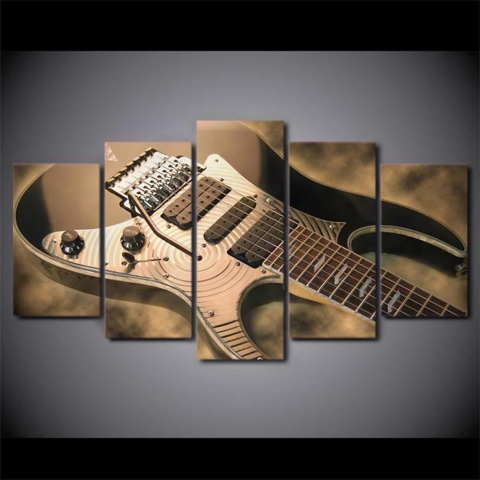 MJK-113 Toile d'art mural HD, cadre, 5 pièces, photos de guitare électrique, affiche d'instrument de musique Vintage(Sans cadre)