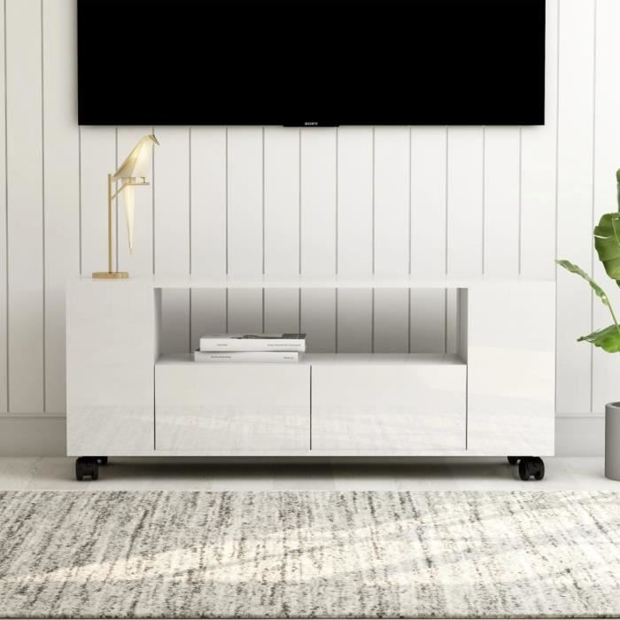 MEUBLE TV - MEUBLE HI-FI scandinave contemporain Blanc brillant 120 x 35 x 43 cm Aggloméré