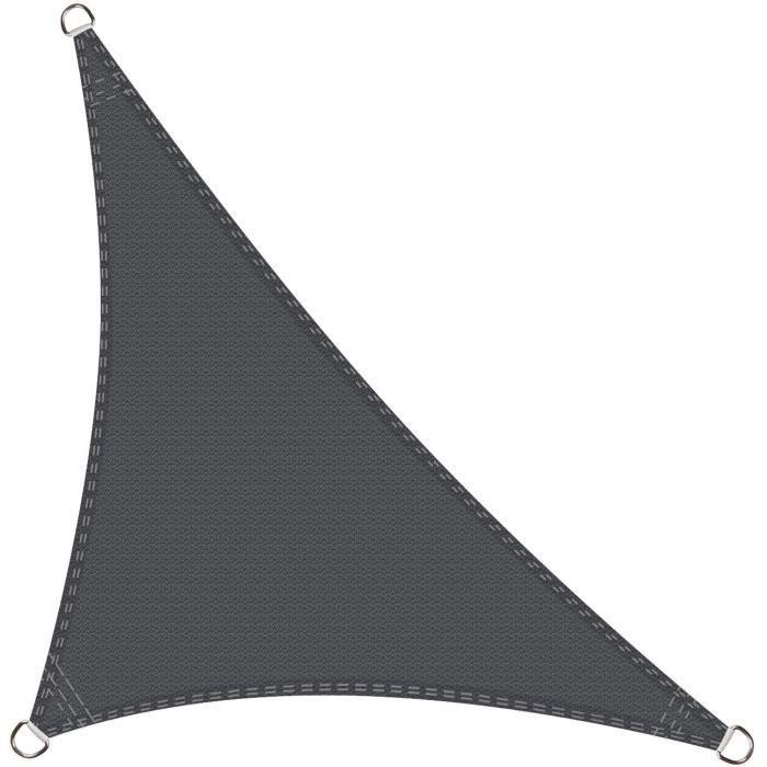 Voile D'Ombrage Triangle Rectangle 3.5 X 3.5 X 4.9 Mètres Une Protection Des Rayons Uv, Résistant Et Respirant, Couleur Graphite