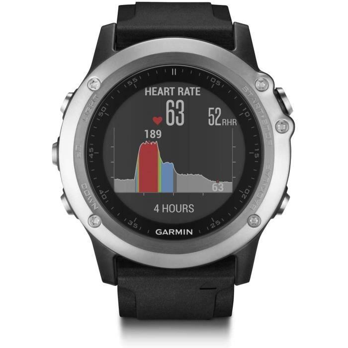 MONTRE CONNECTEE SPORT Garmin Fnix 3 Silver HR Cardio Poignet Montre GPS Multisports Outdoor Bracelet Silicone Noir533