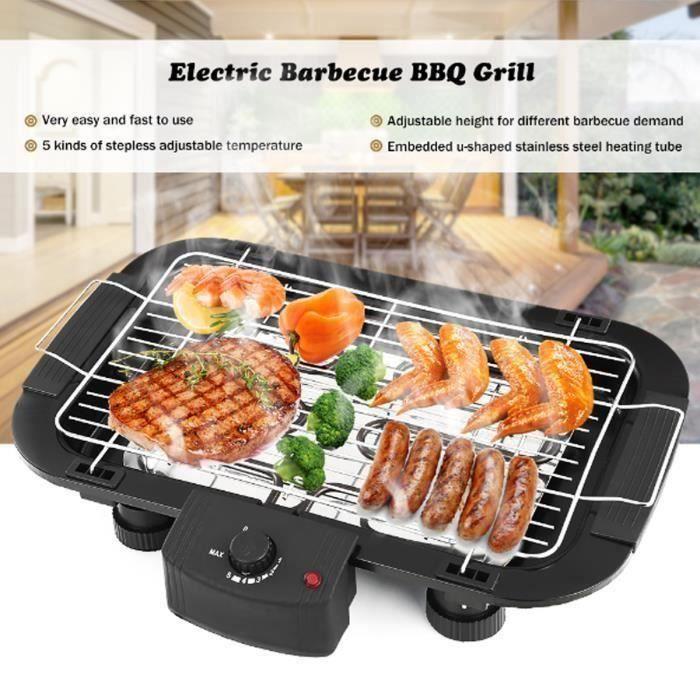 2000W Barbecue électrique de Table Température Réglable Cuisson Grille Sans Fumée BBQ Maison Party Fête