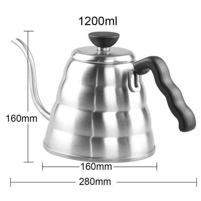 Café Pots,Acier inoxydable Hario café goutte à goutte col de cygne bouilloire Pot théière bouilloire théière haute - Type 1.2L