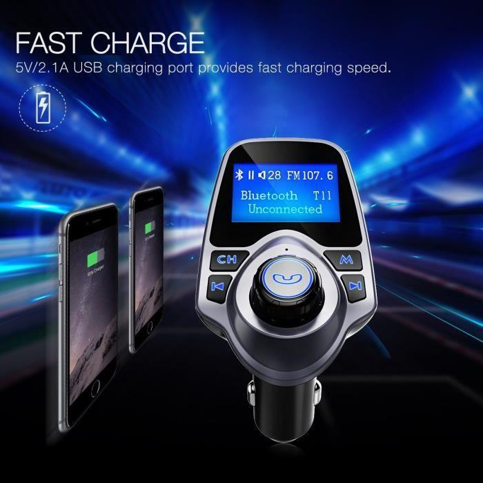Transmetteur FM Bluetooth Voiture avec USB Lecteur MP3 Audio FM Transmetteur Voiture Kit Main Libre pour iPhone,Téléphones Android