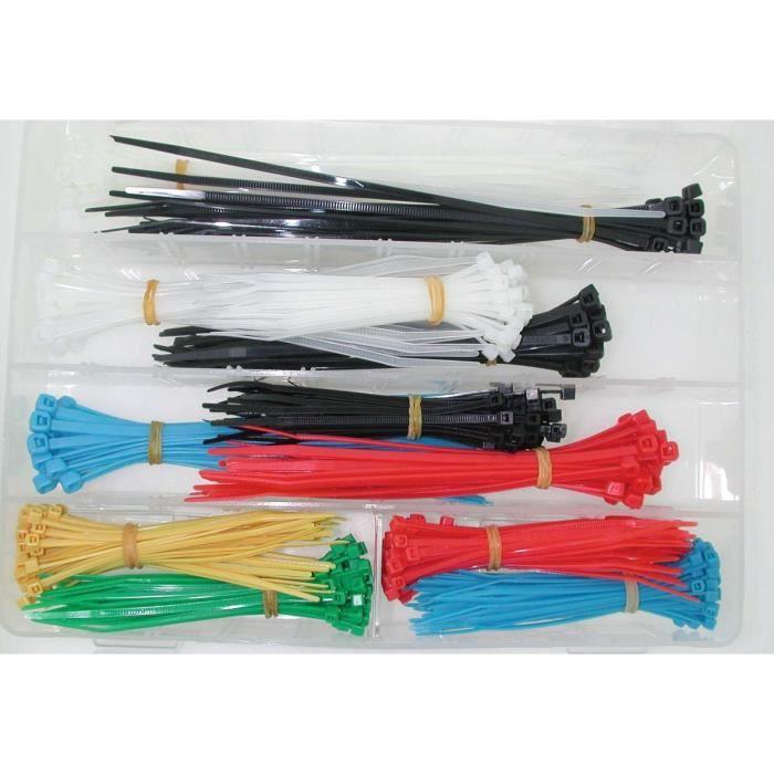 Coffret composé d'un assortiment de 375 colliers serre-câbles de couleur en longueur 100mm, 150mm et 200mm