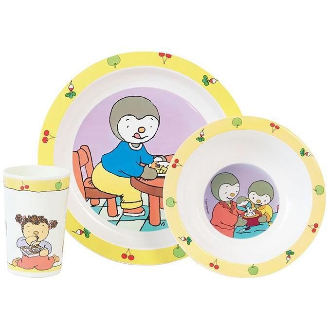 Fun House T'choupi ensemble repas comprenant 1 assiette, 1 verre et 1 bol pour enfant