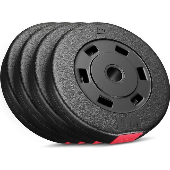Disques de poids Hop-Sport, Poids en plastique de 20 kg (4x5kg) (SET E)