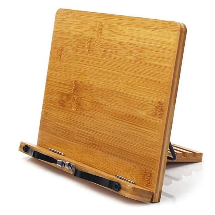 Support de lecture Support de livre en bambou Support de livre réglable Plateau de lecture, S: 280 * 210mm, couleur bois