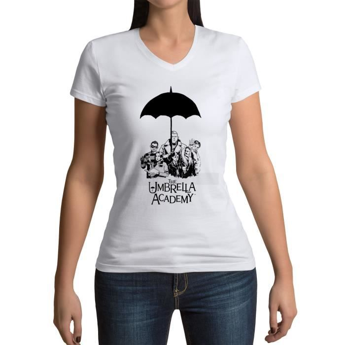 T-shirt Femme Col V Umbrella Academy Serie Fantastique Super-hero Dessin