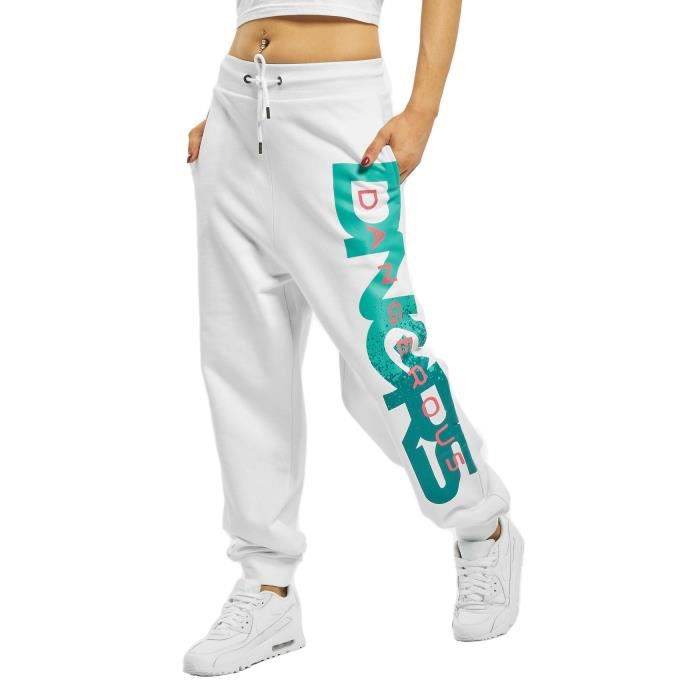 DNGRS Dangerous Pantalon de survêtement pour femmes de jogging urbain Hyena [Blanc, XXL]