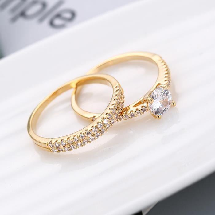 Set Mariages Anneau femme 1.5ct Lab diamant Bague or jaune 18 carats Rempli emsembles de Bijoux Weddings Taille 7
