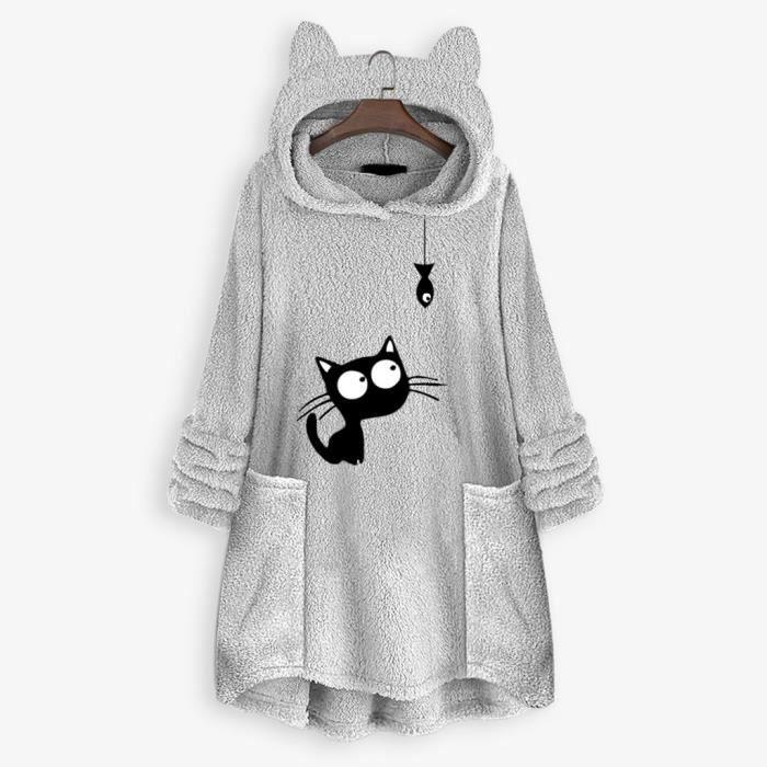 Femmes polaire broderie oreille de chat grande taille sweat à capuche poche top chandail chemisier YEI201119002GYL