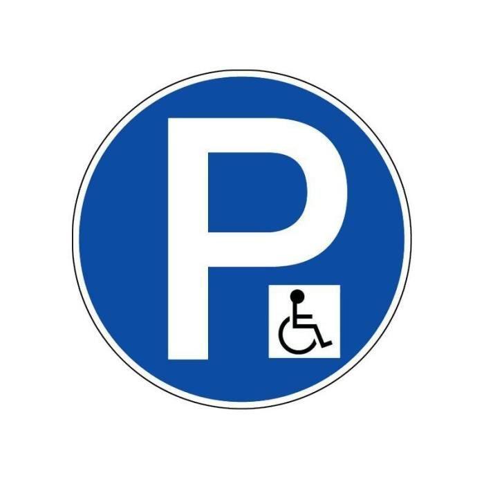 Panneau PVC rigide diamètre 450mm parking handicapé