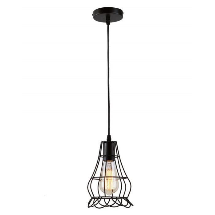 Retro Suspensions Industrielle Métal Luminaires Vintage Plafonniers Lustre Abat-jour E27 Noir