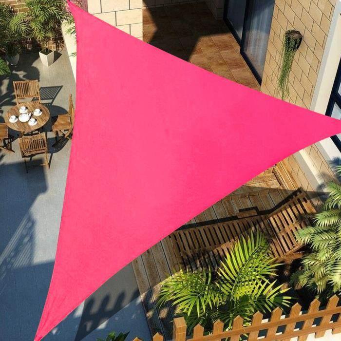 Voile d'Ombrage Imperméable Auvent Triangle Lavable Résistant Soleil Durable ROSE 4X4X4M