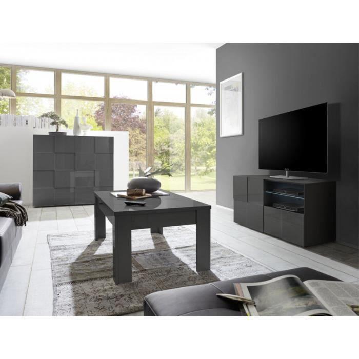 Meuble TV 1 porte 1 tiroir Laqué Gris brillant LED's - TICATO - L 122 x l 43 x H 57