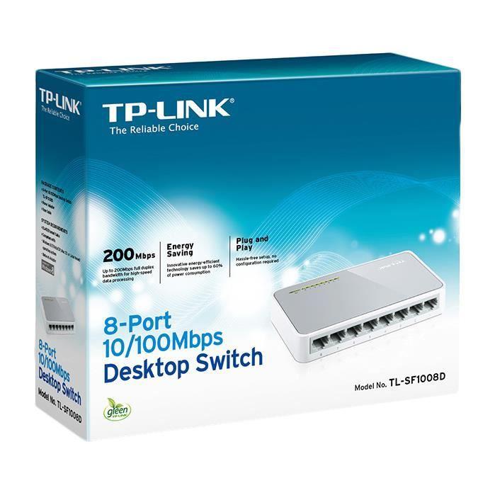TP-LINK 8-Port 10-100Mbps Desktop Switch, Commutateur de réseau non géré, Full duplex