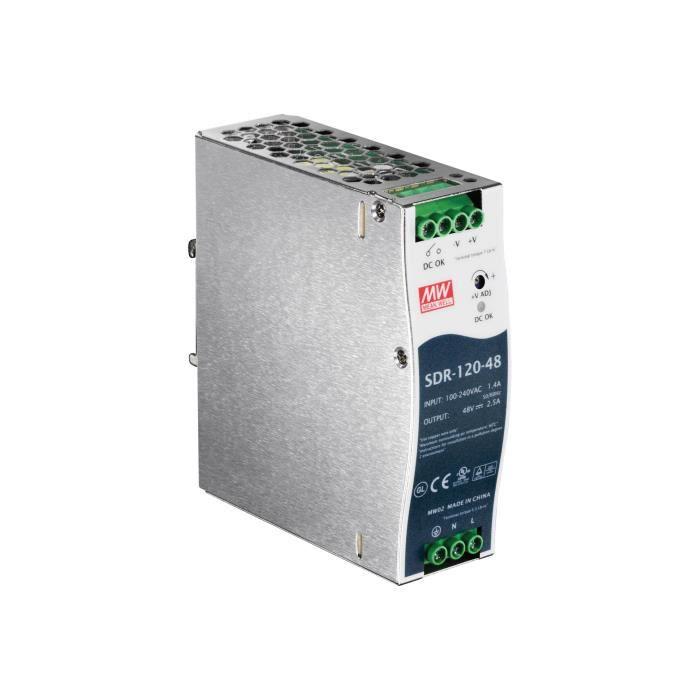 TRENDNET Module d'Alimentation Propriétaire TI-S12048 - 120 W - Rail DIN - 120 V AC, 230 V AC Entrée - 48 V DC Sortie - 91%