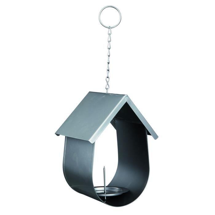 Mangeoire boule de graisse pour oiseaux 14 × 19 × 12 cm argent
