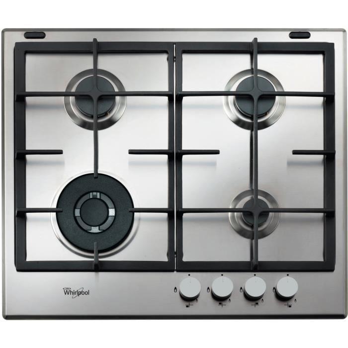 Whirlpool AKA 6422-IX, Intégré, Cuisinière à gaz, Acier inoxydable, Acier inoxydable, Fonte, Gauche