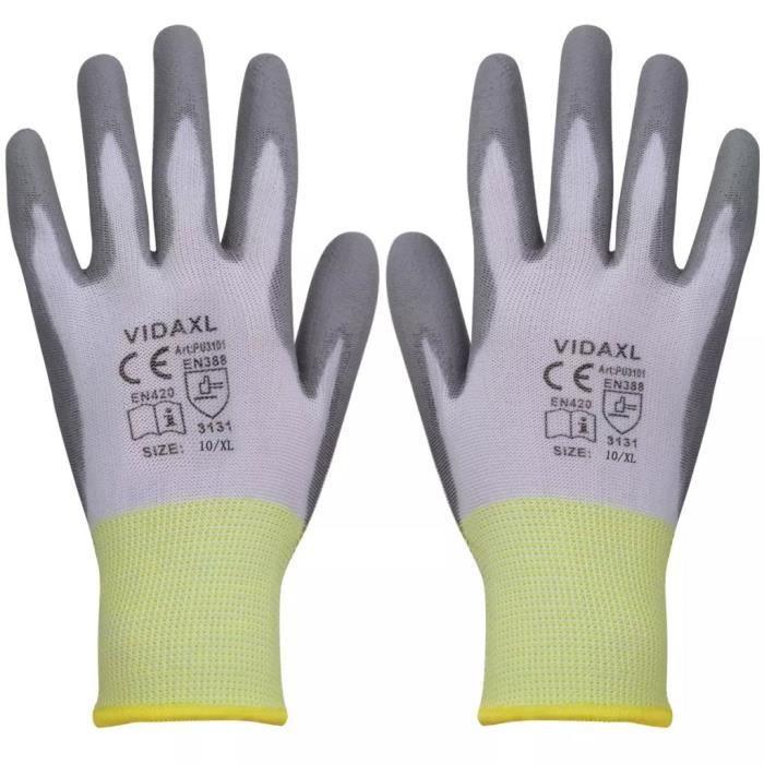 Gants de travail PU 24 paires Blanc et gris Taille 10-XLHB017-PRO