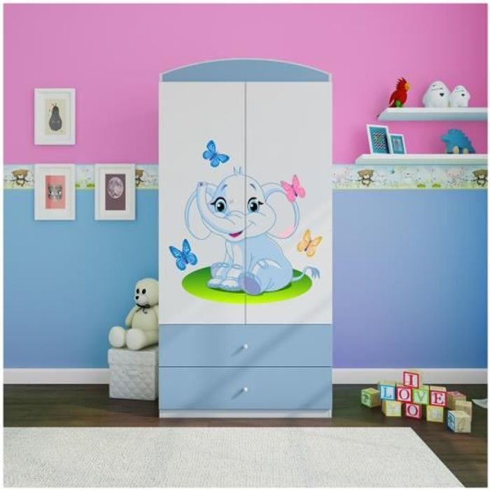 armoire enfant elephant 2 tiroirs bleu achat vente. Black Bedroom Furniture Sets. Home Design Ideas