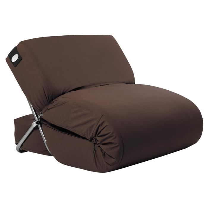 fauteuil chauffeuse convertible marron chocolat en. Black Bedroom Furniture Sets. Home Design Ideas