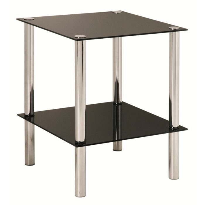 Table d 39 appoint belly chrome et verre tremp noir achat for Table d appoint moderne