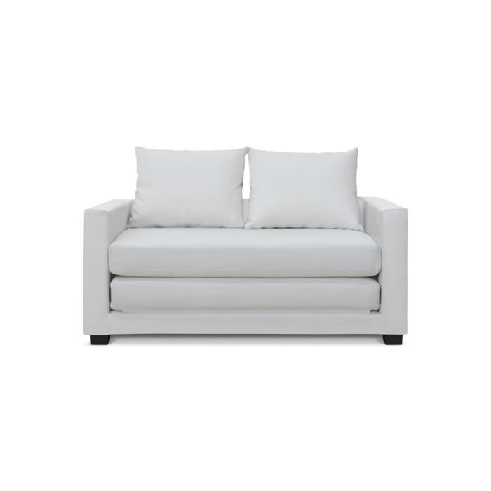 canap convertible 2 places blanc pu lescott achat. Black Bedroom Furniture Sets. Home Design Ideas