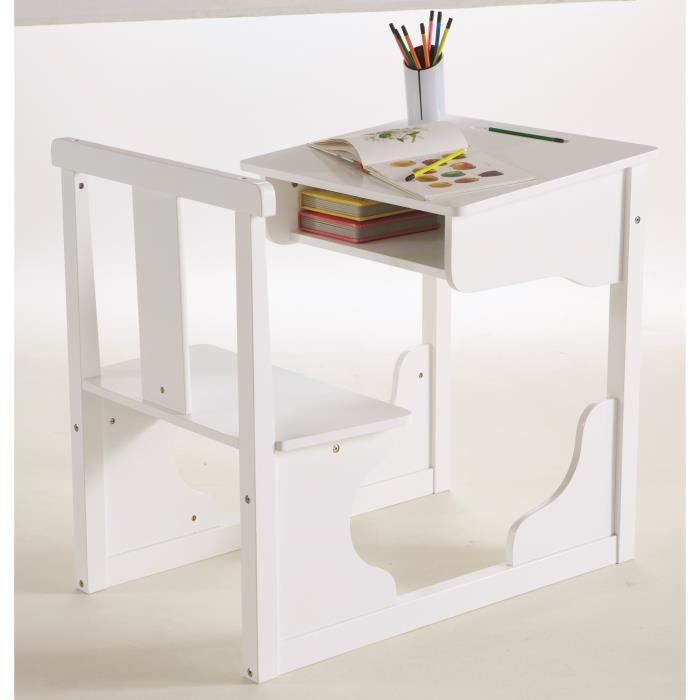 scola bureau pupitre enfant 55x81cm laqu blanc achat vente bureau scola bureau pupitre. Black Bedroom Furniture Sets. Home Design Ideas