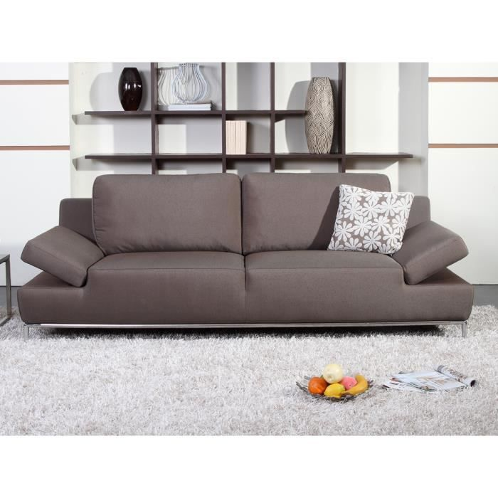 Canap fixe tissu teddy 3 places marron achat vente canap - Densite assise canape ...