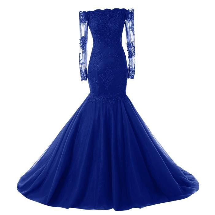 Bleu royal Robe Longue de Soirée Mariage
