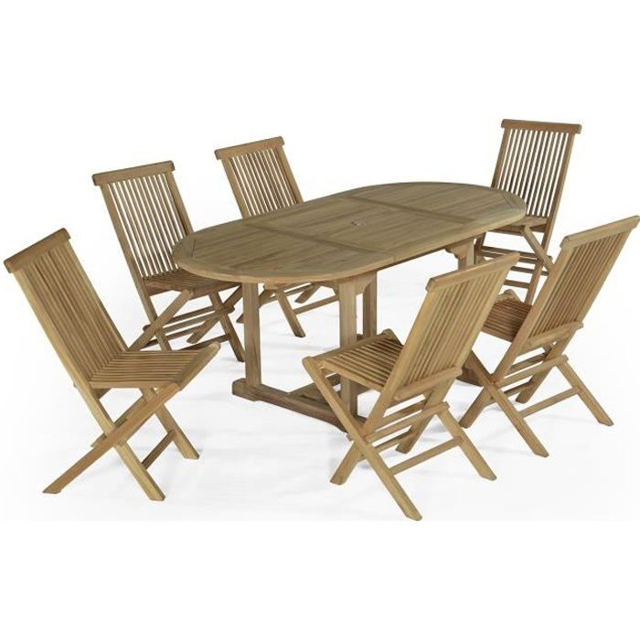 Salon de jardin en teck Ecograde Manille, table extensible ...