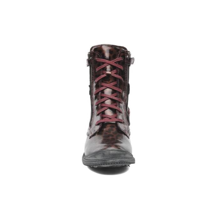 Bottine fille à lacets vernis bordeaux ooBrt