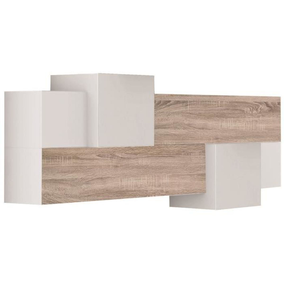 ensemble de meuble mural en bois m lamin coloris blanc cambrian achat vente meuble. Black Bedroom Furniture Sets. Home Design Ideas