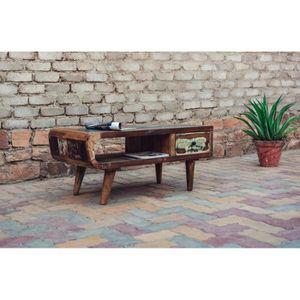 TABLE BASSE Table basse bois recyclé avec tiroir