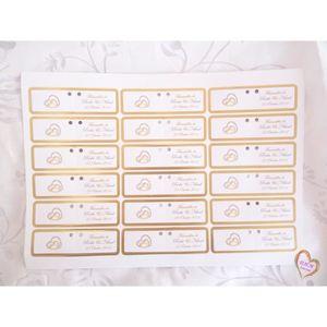 FAIRE-PART - INVITATION Étiquette Mariage, Baptême contour doré x18Pcs