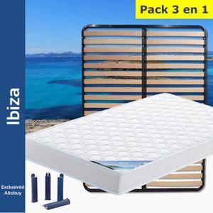 ENSEMBLE LITERIE Ibiza - Pack Matelas + Lattes 120x190 + Pieds