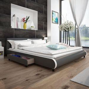 STRUCTURE DE LIT vidaXL Cadre de lit avec tiroirs Gris Similicuir 1