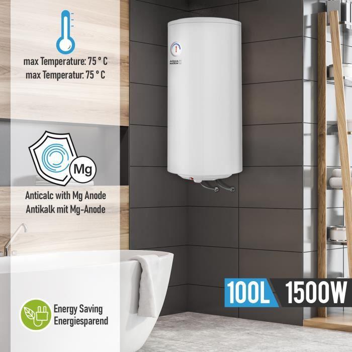Aquamarin® Chauffe-Eau Électrique - 100 Litres, Thermostat à 75°C, 1.5 kW, CEE : C, Modèle Anti-Calcaire - Ballon d'Eau Chaude