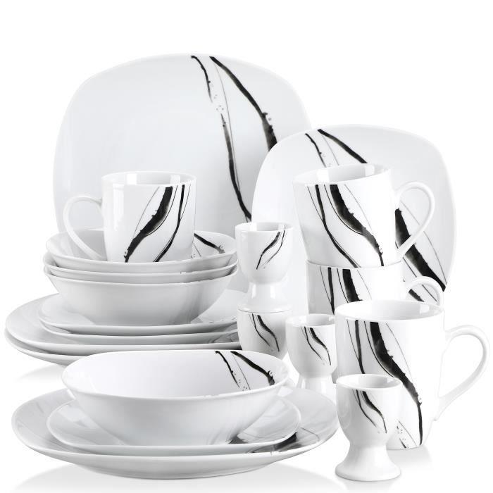 Veweet TERESA 20pcs Service de Table 4pcs 9.75- Assiette Plate, 7.5- Assiette à Dessert, 6.7- Bol, 360ML Mug, Coquetier Porcelaine