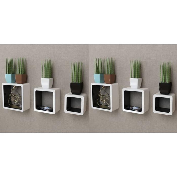 Étagères murales Forme de cube 6 pcs Blanc et noir -XNA