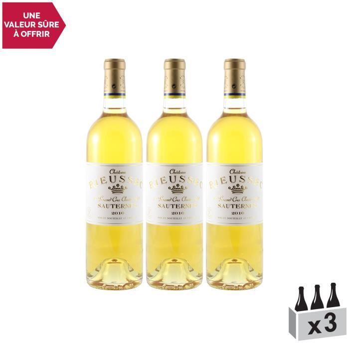 Les carmes de Rieussec Blanc 2010 - Lot de 3x75cl - Château Rieussec - Appellation AOC Sauternes - Vin Doux Blanc de Bordeaux -