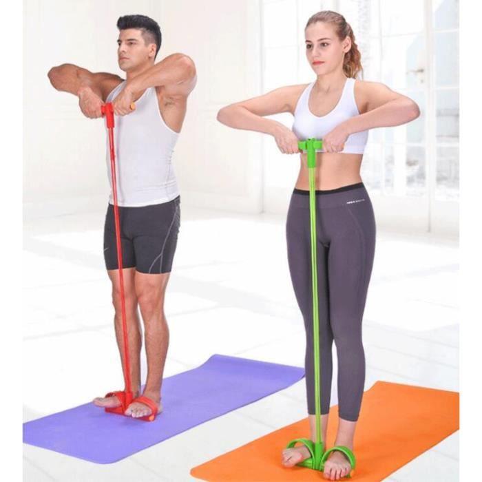 Appareil de gym 4 avec repose-pieds pour exercice - Rameur avec élastique